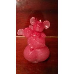 "Свеча из парафина розовая ""Влюблённые мыши"""